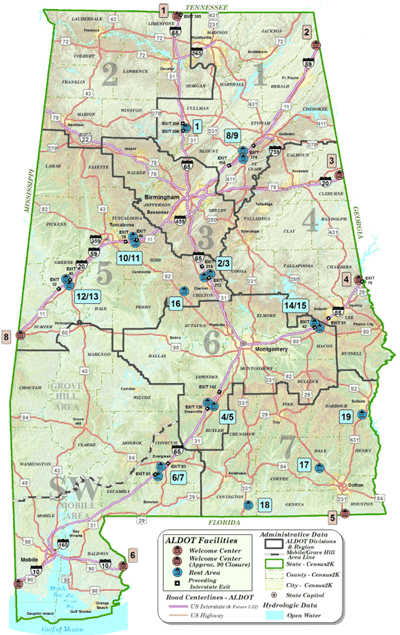 alabama rest areas stops-map